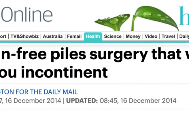 The pain-free piles surgery that won't leave you incontinent - Read it on Daily Mail Health - Piles Surgery - by Diana Pilkington - Pasquale Giordano