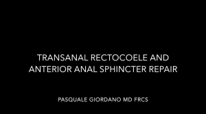Transanal rectocoele and anterior anal sphincter repair - pasquale giordano - londoncolorectal